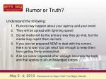 rumor or truth
