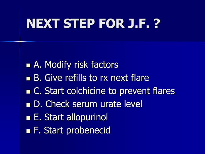 NEXT STEP FOR J.F. ?