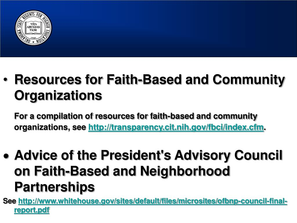 Resources for Faith-Based and Community Organizations