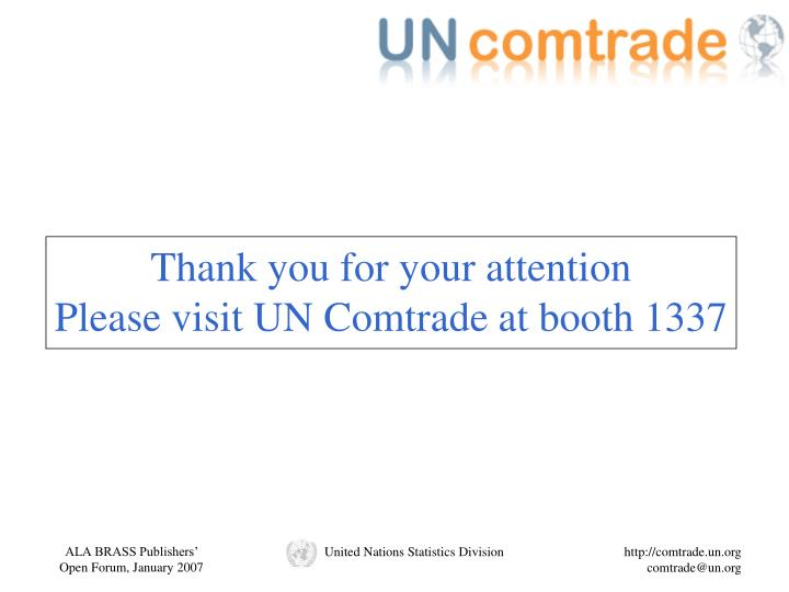 PPT - UN Comtrade United Nations Commodity Trade ...