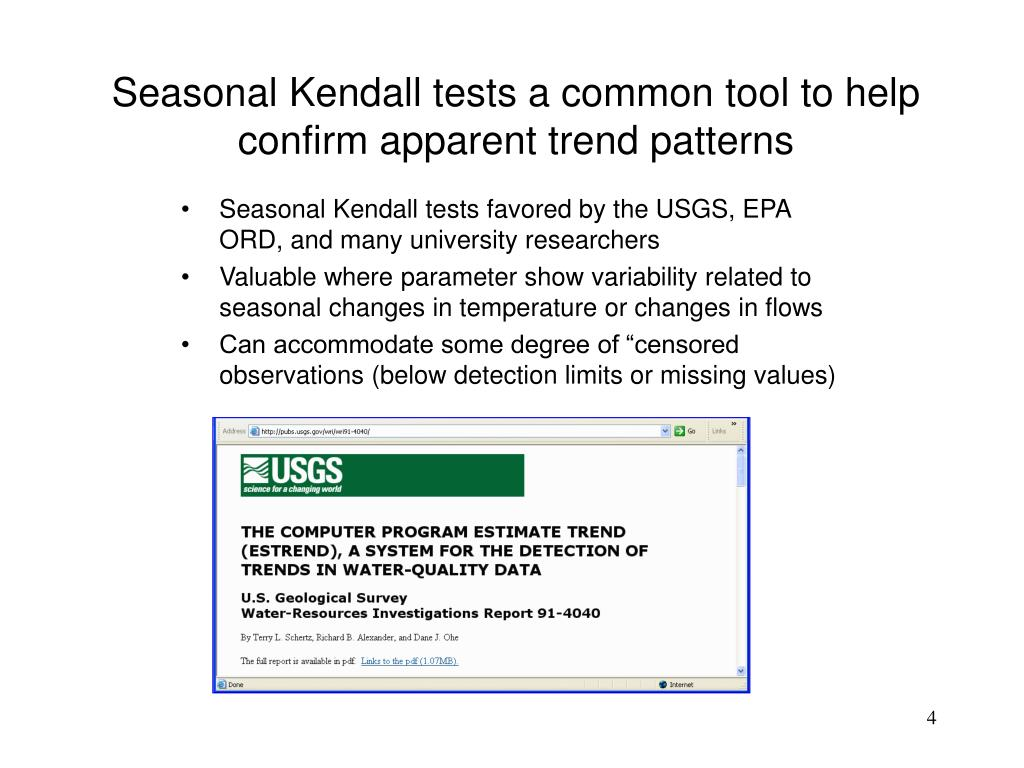 Seasonal Kendall tests a common tool to help confirm apparent trend patterns