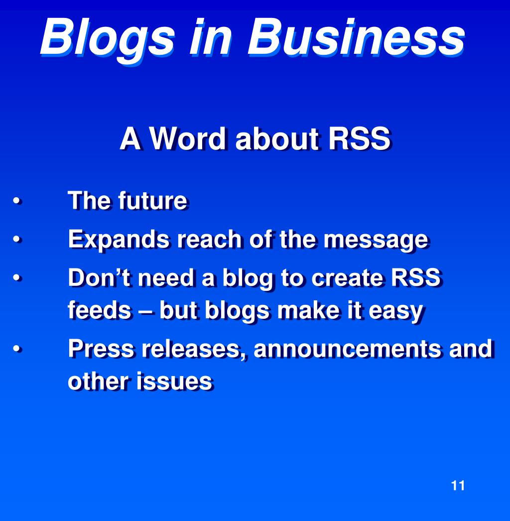 A Word about RSS
