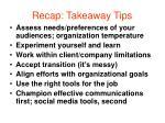 recap takeaway tips