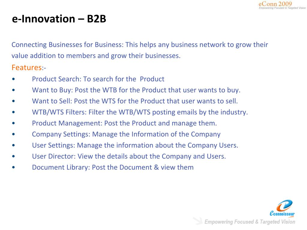 e-Innovation – B2B