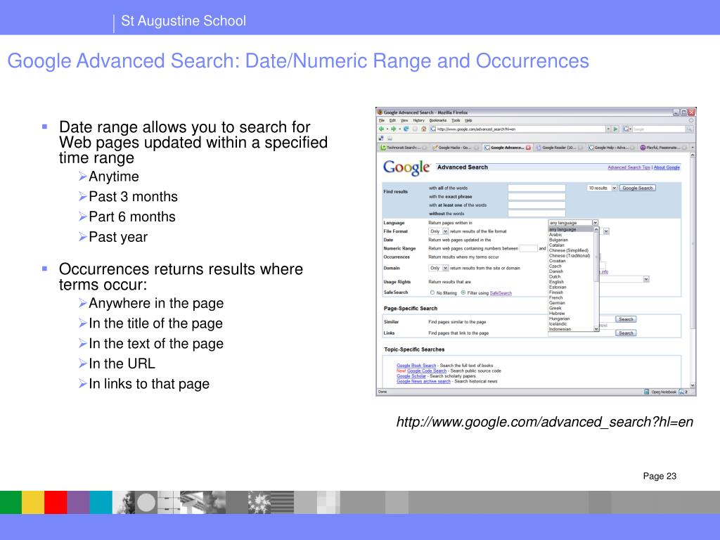 Google Advanced Search: Date/Numeric Range and Occurrences