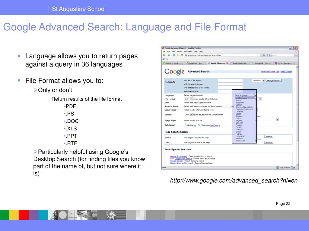 Google Advanced Search: Language and File Format
