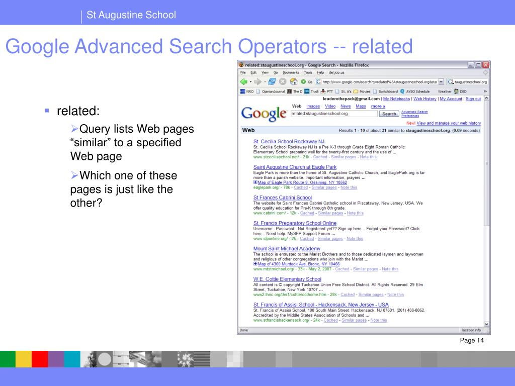 Google Advanced Search Operators -- related