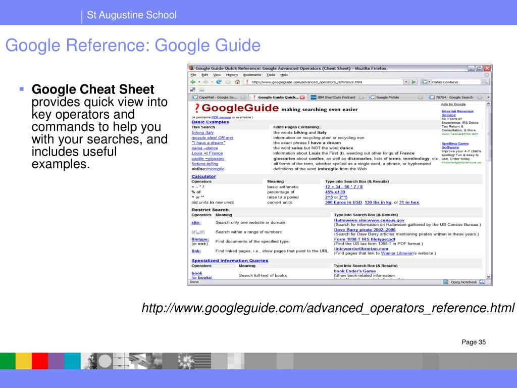 Google Reference: Google Guide