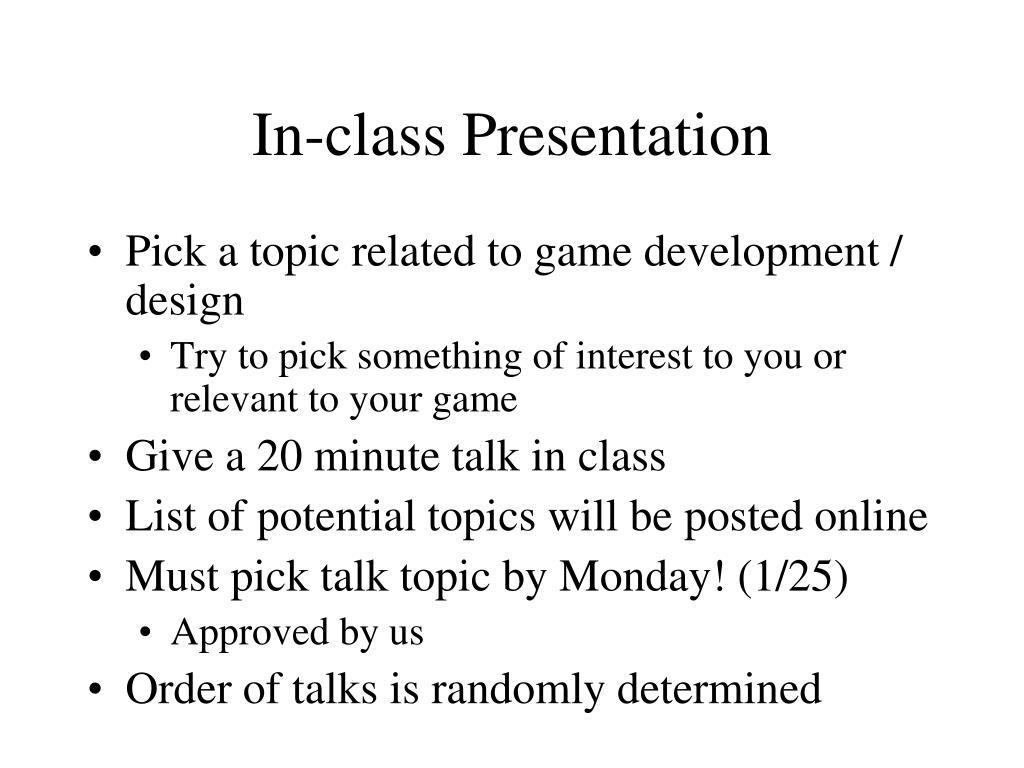 In-class Presentation