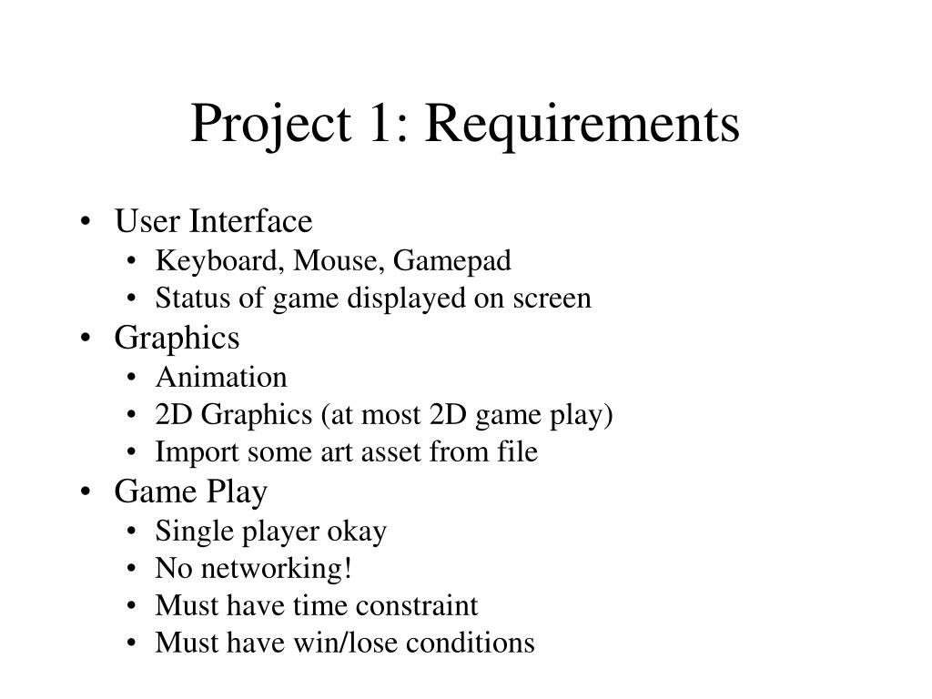 Project 1: Requirements