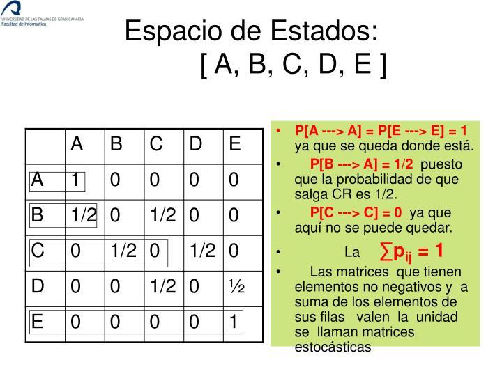P[A ‑‑‑> A] = P[E ‑‑‑> E] = 1