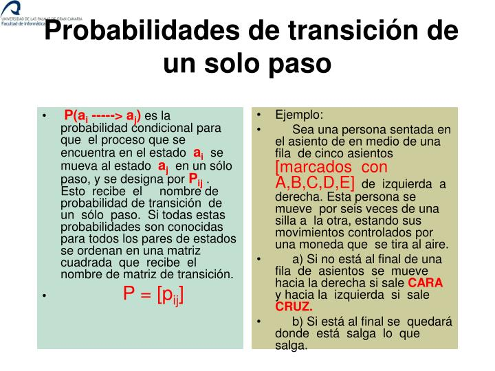 Probabilidades de transici n de un solo paso