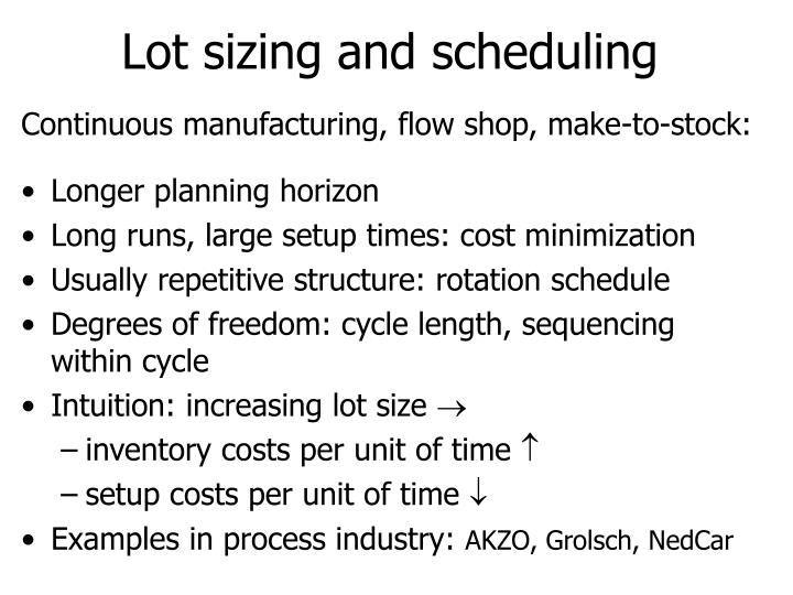 lot sizing Overview of the factors influencing the lot size the first part of this three post series looks at true north, change over time, container size, shipment size.