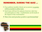 remember during the quiz