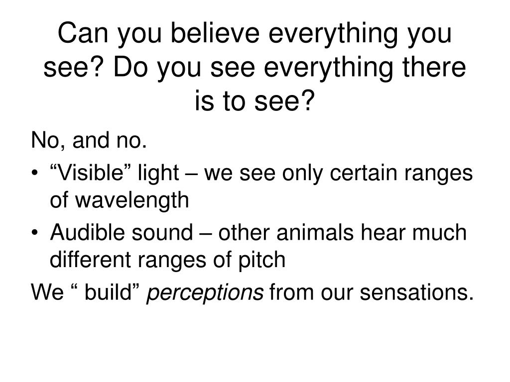 Can you believe everything you see? Do you see everything there is to see?