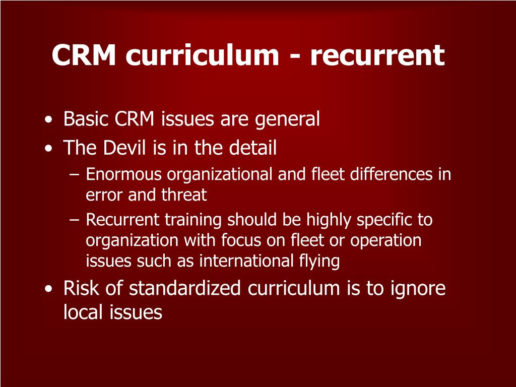 CRM curriculum - recurrent