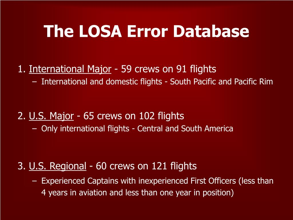 The LOSA Error Database