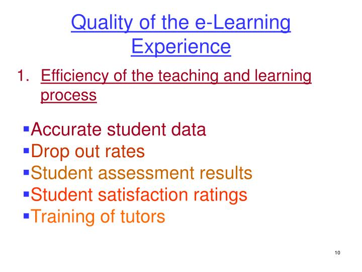 Quality of the e-Learning Experience