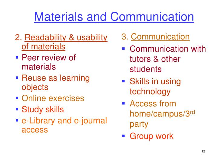 Materials and Communication