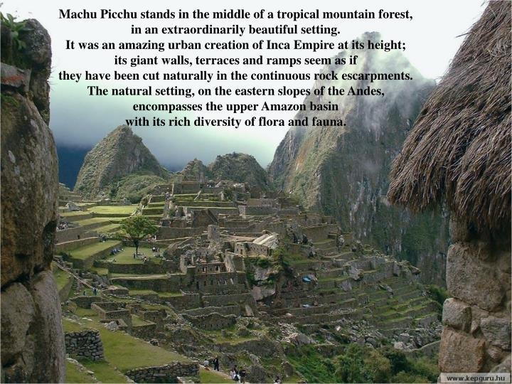 Machu Picchu stands in the middle of a tropical mountain forest, in an extraordinarily beautiful set...