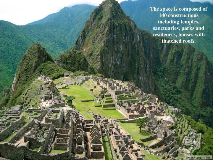 The space is composed of 140 constructions including temples, sanctuaries, parks and residences, hou...