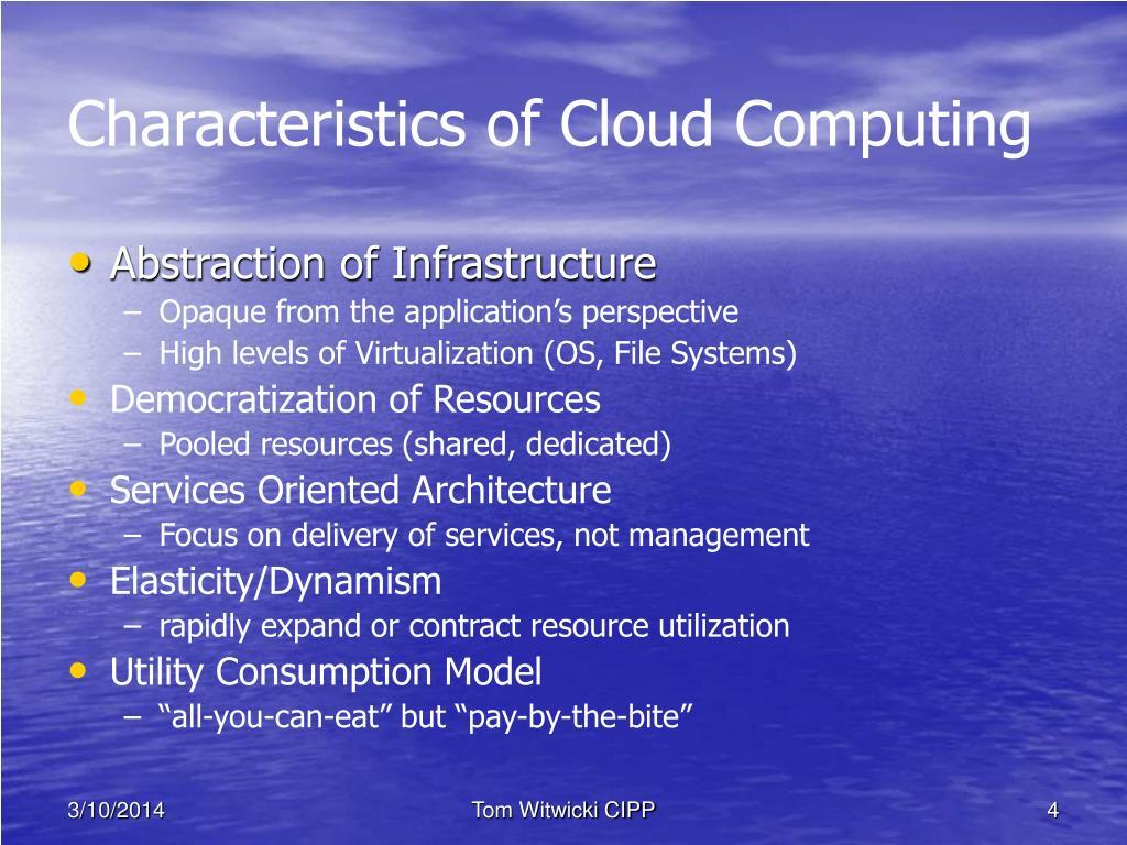 Characteristics of Cloud Computing