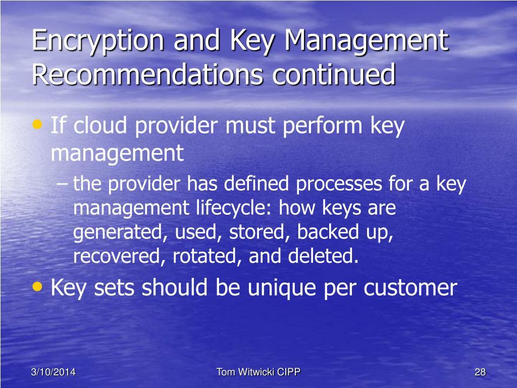 Encryption and Key Management
