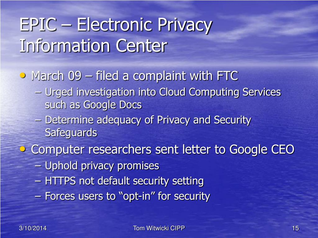 EPIC – Electronic Privacy Information Center