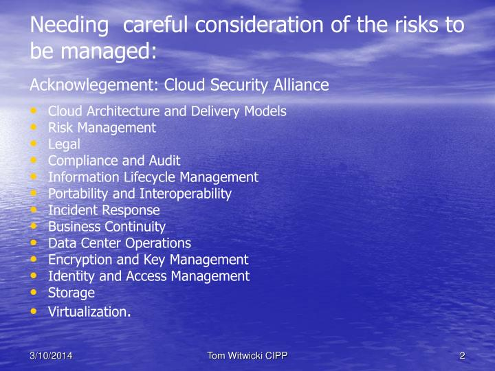 Needing careful consideration of the risks to be managed acknowlegement cloud security alliance