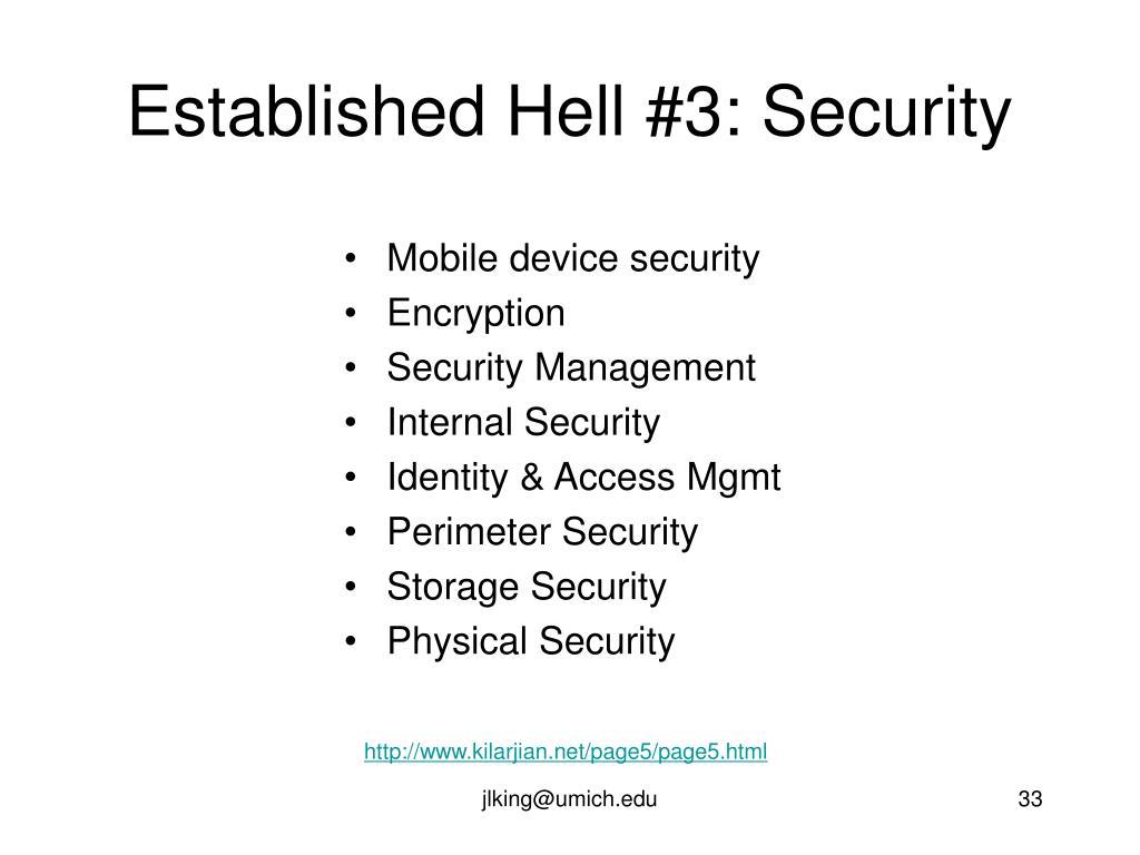 Established Hell #3: Security