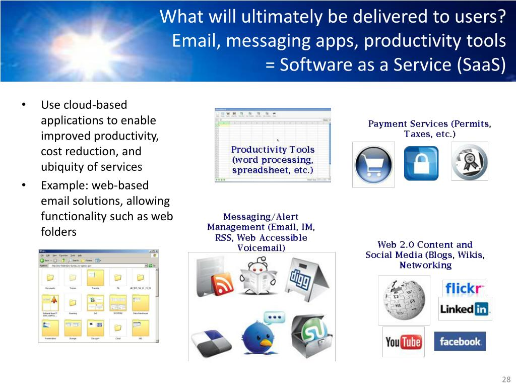 What will ultimately be delivered to users? Email, messaging apps, productivity tools