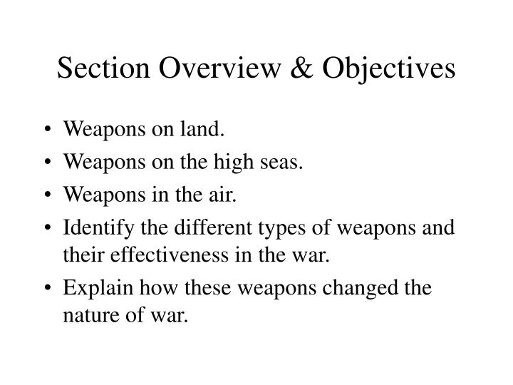 Section overview objectives