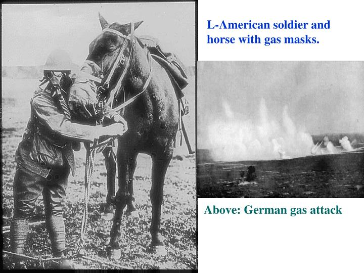 L-American soldier and horse with gas masks.