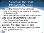 a proposal the cloud interoperability profile