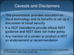 caveats and disclaimers