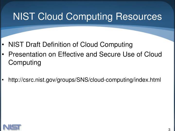 Nist cloud computing resources