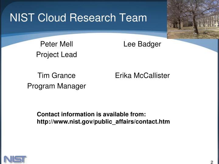 Nist cloud research team