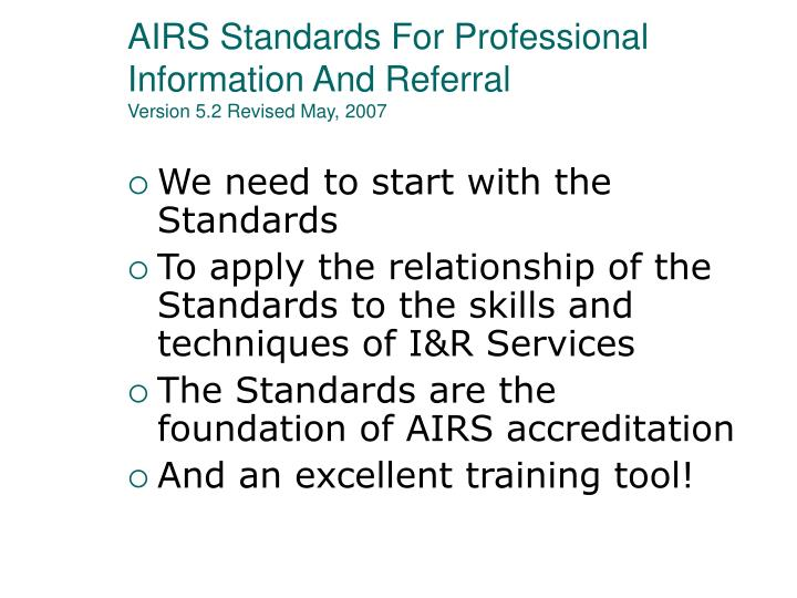 AIRS Standards For Professional Information And Referral