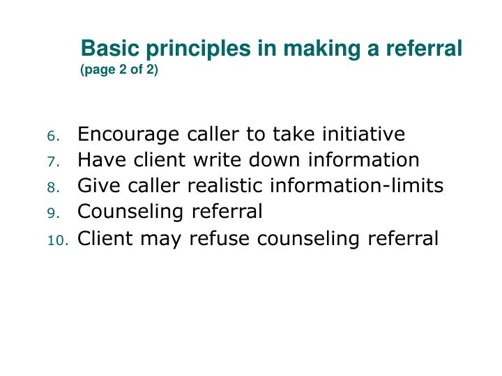 Basic principles in making a referral
