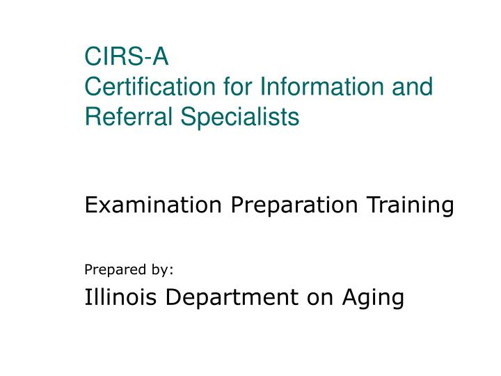 cirs a certification for information and referral specialists n.