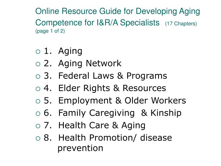 Online Resource Guide for Developing Aging Competence for I&R/A Specialists