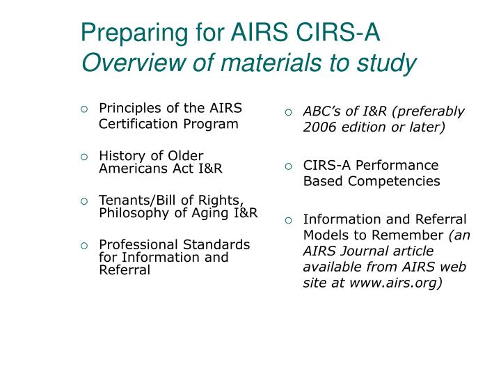 Preparing for airs cirs a overview of materials to study