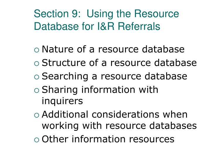 Section 9:  Using the Resource Database for I&R Referrals