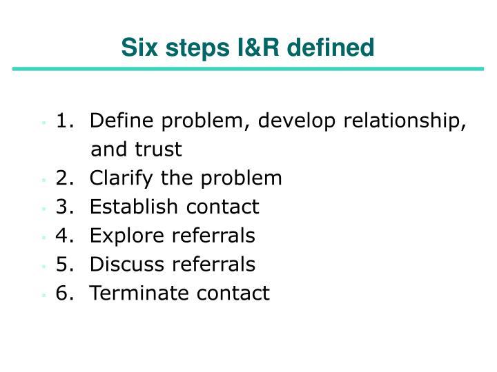Six steps I&R defined