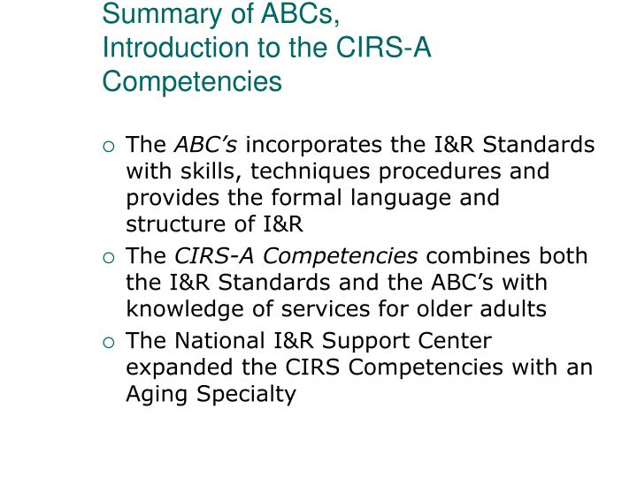 Summary of ABCs,
