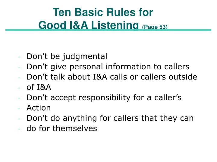 Ten Basic Rules for
