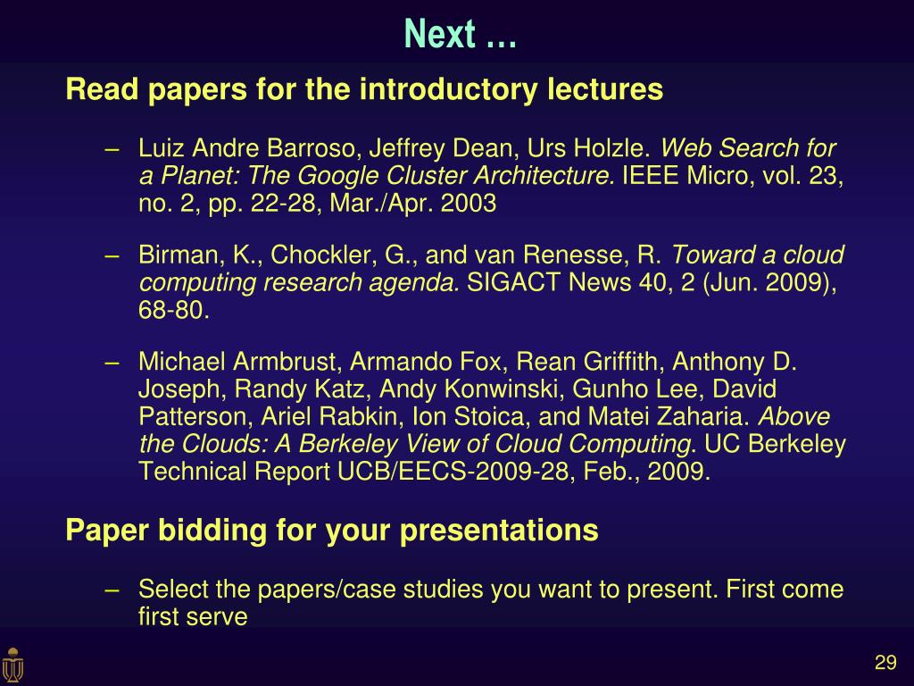 Read papers for the introductory lectures