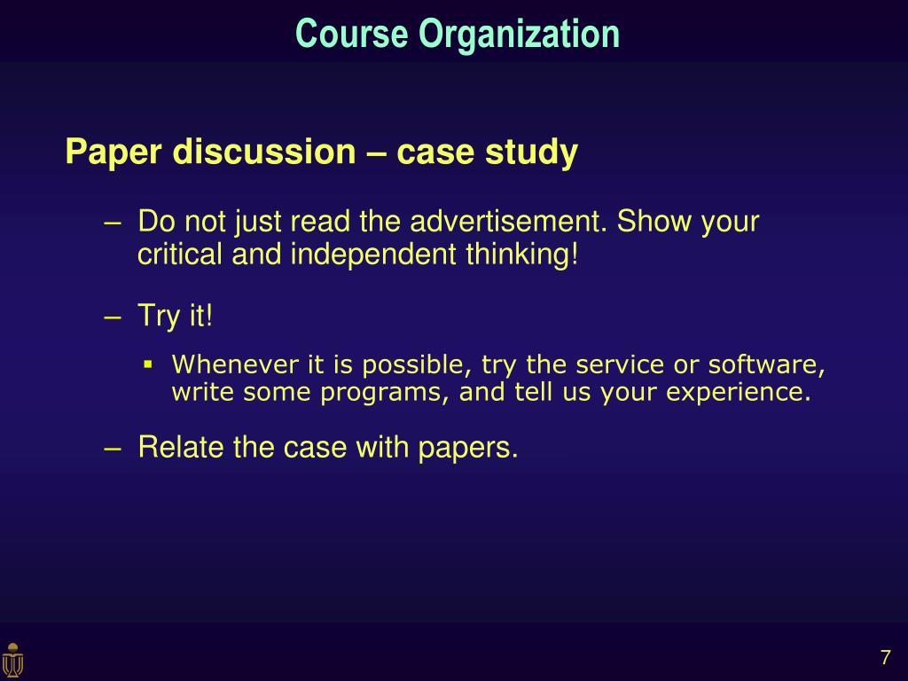 Paper discussion – case study