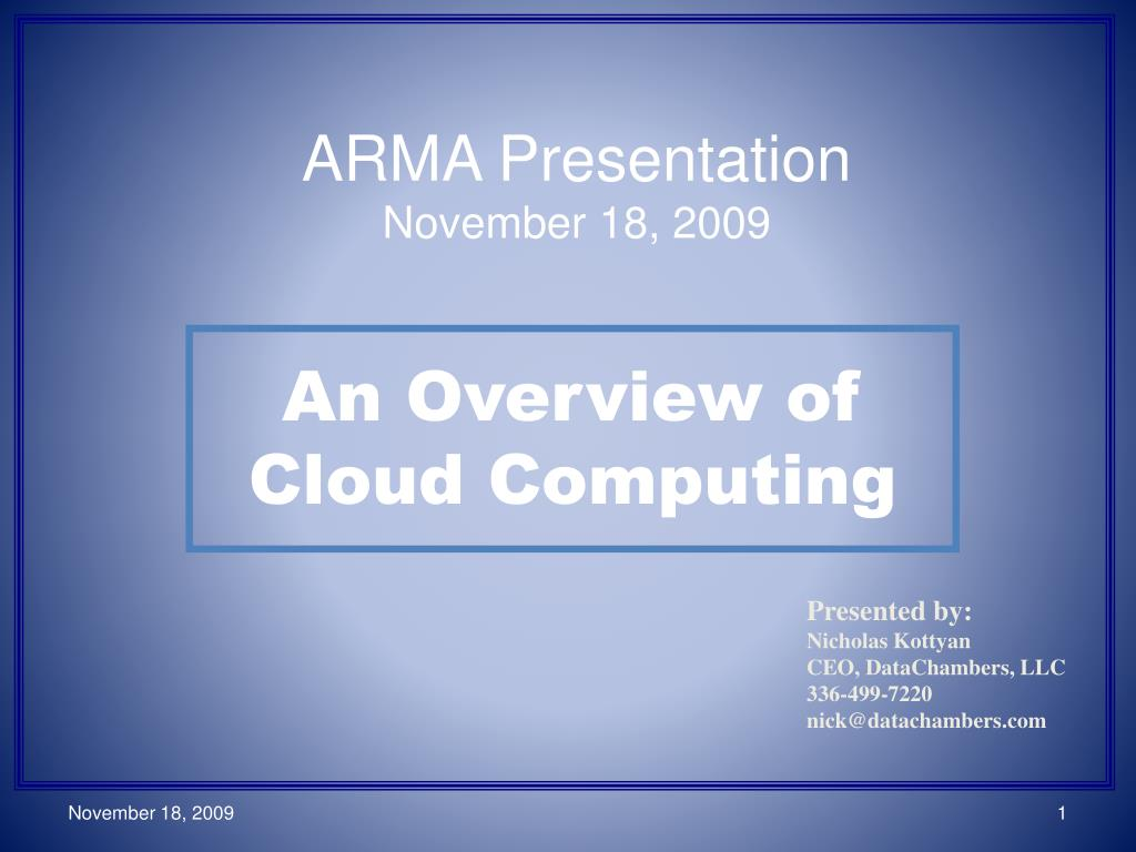 an overview of cloud computing l.