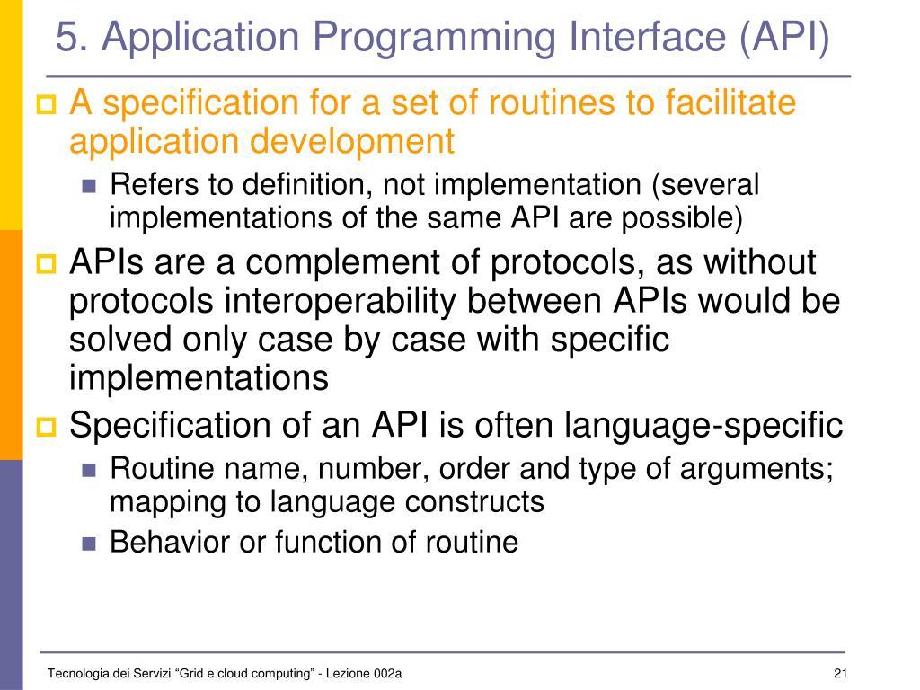 5. Application Programming Interface (API)